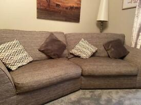 4 seater curved settee sofa plus large chair and cushions