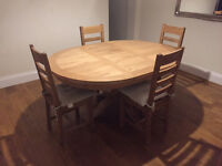 Solid Oak Extending Dining Room Table and 4 Chairs