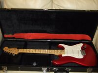 Candy Apple Red Fender Guitar MIM with Case, Strap and Tuner