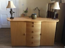 Lovely Sideboard with Two side Cupboards & 5 Central Drawers Art Deco Design with Shaped Top