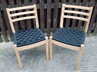 2 x Chairs - light wood with weaved black seat