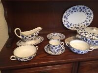 Spode dinner service ' colonel' blue and white/ gold trim