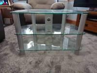 Glass & stainless steel corner tv unit 80 (w) x 45 (d) x 53 (h) cm