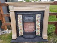 131 Cast Iron Fireplace Surround Fire Wood Tiled Insert Antique Victorian Style