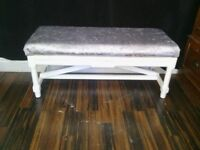 Window/ end of bed seat in silver crushed velvet
