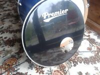 "BASS DRUM SKIN HEAD COVER 20"" BLACK PREMIER AND AQUARIAN BOTH WITH MIC PORTS"