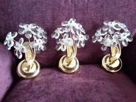 Three glass flower effect wall lights