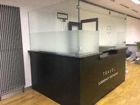 Reception Desk with toughened glass and door