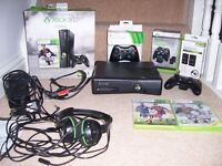 XBOX 360 with 2 controllers, headset and accessories
