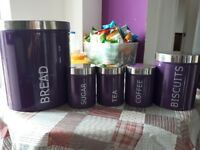 5 kitchen canisters colour match purple
