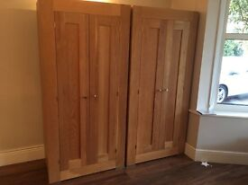 Beautiful solid oak wardrobe( pair for sale) great condition.