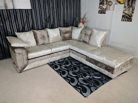 new dino sofa in brown mink crushed velvet fabric sprung base & foam seats stylish & comfortable