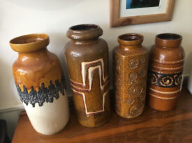Gorgeous Selection of SCHEURICH West Germany Pottery Floor Standing Vases - Retro Lava Vases