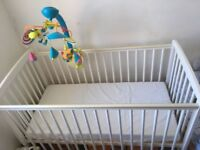 Cyprus Cot with Mattress, White, never been used, from Babies 'R'us