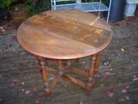 Vintage Solid Oak Gate legged Table