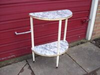 Telephone Table Marble Effect Table 1960's 1970's, half moon table / side table / telephone table