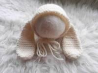 Newborn baby unisex rabbit themed hat. New handmade photography prop