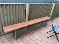 Vintage German beer garden outdoor bench
