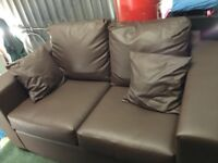 Brown PVC leather two seater sofa