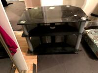 Small Black Tempered Glass TV Stand