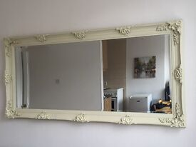 VERY LARGE FRENCH STYLE MIRROR - 165 cm x 75 cm - Ivory/Off-White colour