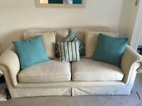 3 seater sofa with armchair, cushions & throw