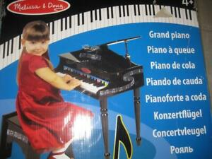 Melissa and Doug Learn To Play Classic Grand Piano Keyboard With 30 Keys. Color Coded Song Music Book, and Non Tip Bench