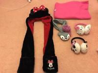 Girls Hat, scarf, Earmuff and sleeved blanket