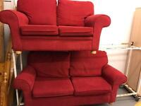 3 & 2 seater red fabric sofas