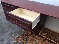 Mahogany style chest of drawers 2x + empty drawer frame and matching fitting worktop