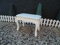 SOLID PINE CREAM FABRIC DRESSING TABLE STOOL VERY SOLID AND IT'S IN EXCELLENT CONDITION
