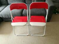 2 folding chairs red & white