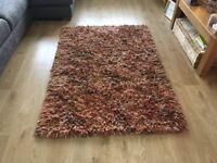 NEXT Real Wool Rug - Multi coloured (Orange/Brown/Cream)
