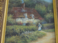 Vintage Gold Framed Picture Country Cottage Picture After H Allingham