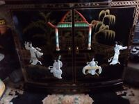 Oriental laquard mother of pearl two door cabinet forsale