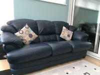 Italian leather sofa and armchair