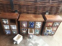 3xSolid Acacia Wood & Hand Painted Ceramic Spice Chest / Jewellery Chest / Key Drawer £45 (RRP £85)