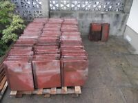 """REDLAND 'STONEWOLD' RED CONCRETE ROOF TILES -USED- 17"""" x 15"""" x 1""""- 150 TILES"""