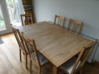 Solid Wood Extendable Dinning Table and Six Chairs, Reigate