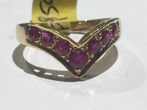 #129 18K LADIES CHEVRON STYLE YELLOW GOLD RUBY RING. SIZE 8. *JUST BACK FROM APPRAISAL AT $2275.00 SELLING FOR $595.00*