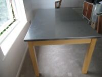 Stunning Stainless Steel topped dining table