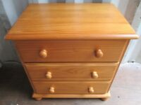 Solid Pine Chest With 3 Drawers
