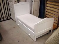 White toddler bed with drawer and mattress 145cm x 75cm