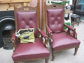 VINTAGE ORNATE PAIR RED EDWARDIAN 'THRONE' CHAIRS + STOOL. WIDE SEATED. VIEW/DELIVERY POSSIBLE
