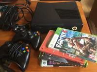 X-Box 360 + games + câbles + controllers