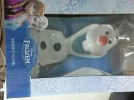 Disney frozen olaf money box brand new in box unwanted gift.