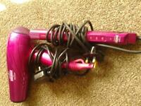 lee stafford argan oil infused hairdryer &matching straightners in hot pink