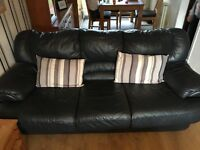 Sofa leather 2x 3 seaters dark navy