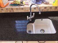 Black Granite Worktop with under mounted ceramic sink