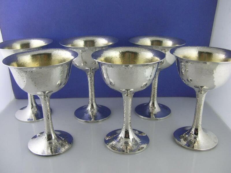 6 Sterling SHREVE & CO Wine Glasses Goblets ARTS & CRAFTS hammered San Francisco